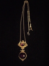 Etruscan Antique Mexican Silver Amethyst Big Lavaliere