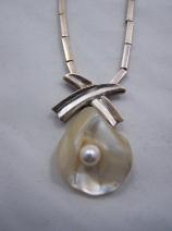 Antonio Pineda Vintage Mexican Silver Pearl Necklace