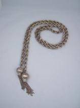 Vintage Mexican Silver Lariat Tassel Necklace