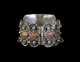 Matilde Poulat Matl Vintage Mexican Silver Bracelet Huge and Old