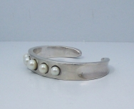Antonio Pineda Pearl Vintage Mexican Silver Cuff Bracelet
