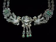 Matl Salas Mexican Silver Palomas Rosas Necklace