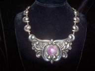 Stunning Amethyst Vintage Mexican Silver Necklace