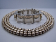 Heavy Vintage Mexican Silver Pearls Triple Strand