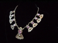 Vintage Mexican Silver Purple Stone Necklace