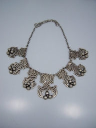 980 Vintage Mexican Silver Deeply Chased Necklace