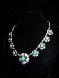 Turquoise Mexico City Repousse Mexican Silver Necklace