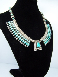 Zuni Kirk And Mary Vintage Southwestern Silver Necklace