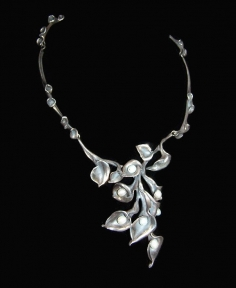 Pearl Sterling Hand Made Necklace Signed