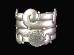 Mexico Mexican Silver Vintage Repousse Cuff Bracelet Huge