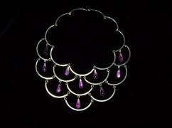 Amethyst Old Mexican Silver Cascade Necklace Vintage