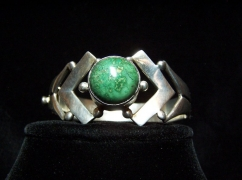 Los Ballesteros Chrysocola Mexican Silver Bracelet