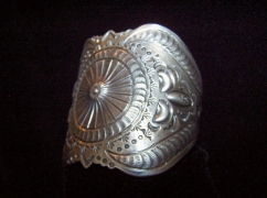 Native American Navajo Silver Stamped /Repousse Cuff