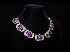 Los Castillo Amethyst Mexican Silver Vintage Necklace