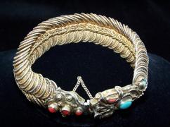 Matl Vintage Mexican Snake Bracelet Silver Oldest Mark