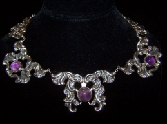 Repousse Vintage Mexican Silver Ameth. Necklace and Er