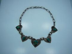 Native American Randy Boyd Silver Hearts Necklace