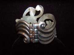 Villasana Lotus Clamper Vintage Mexican Silver Bracelet