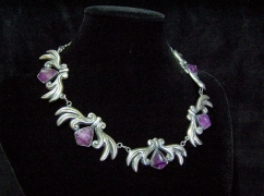 Vintage Mexican Silver Amethyst Pyramid Necklace