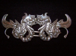 Vintage Mexican Silver Chinese Dragon Buckle Set