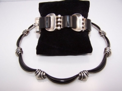 Antonio Pineda Vintage Mexican Silver Onyx Bracelet
