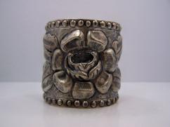 Big Heavy Repousse Mexican Vintage Silver Bracelet