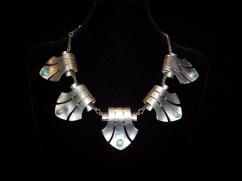 Huge Vintage Mexican Silver Necklace Deco Elegance!