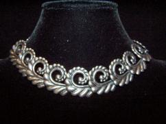 Los Castillo Vintage Mexican Silver Leaf Swirl Necklace