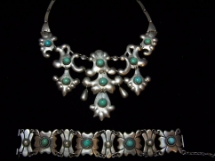 Gorgeous Old Mexican Silver Turquoise Drippy Necklace