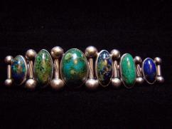 Hector Aguilar Vintage Mexican Silver Stones Bracelet