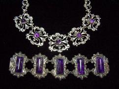 Vintage Mexican Silver Huge Amethyst Bars Bracelet