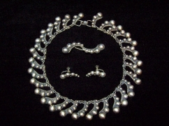 Beaded Swirl Vintage Mexican Silver Necklace