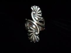 Vintage Mexican Silver Floral Clamper Bracelet