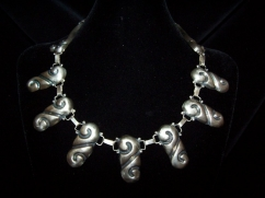 Old Mexico City Repousse Vintage Silver Necklace