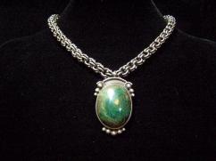 Vintage Hector Aguilar Stone Mexican Silver Necklace