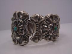 Mexico City Repousse Vintage Silver Flower Bracelet