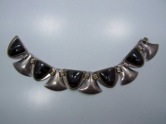 Fred Davis Obsidian Vintage Mexican Silver Bracelet