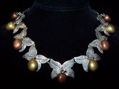Mixed Metale Fruit Vintage Mexican Silver Necklace