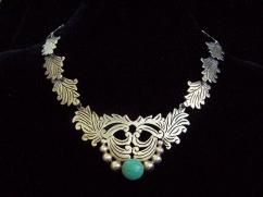 Mexican Vintage Silver Leaf and Turquoise Necklace