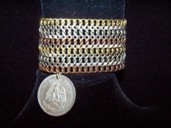 Vintage Mexican Silver Chain Bracelet W/Mixed Metale