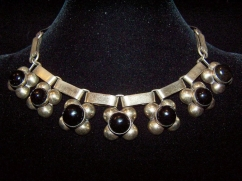 Vintage Mexican Silver Old Carved Obsidian Necklace