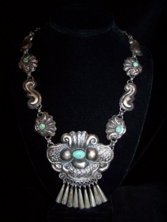 Matl Salas Turquoise Moth Mexican Silver Necklace