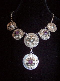 Vintage Mexican Silver Amethyst Disk Pre-48 Necklace