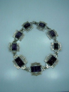 Vintage Mexican Silver Carved Amethyst Necklace