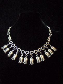 Vintage Mexican Silver Repousse Tulip Necklace
