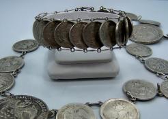 Vintage Mexican Silver Centavos Coin Bracelet