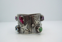 Los Ballesteros Jeweled Star Vintage Mexican Silver Bracelet