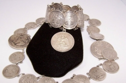 Vintage Mexican Silver Curved Large Coin Bracelet