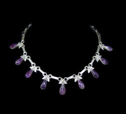 Amethyst Drop Vintage Mexican Silver Necklace