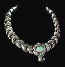 Old Matl Matilde Poulat Mexican Silver Moth Necklace